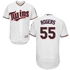 Men's Taylor Rogers Minnesota Twins Authentic White Home Flex Base Collection Jersey by Majestic